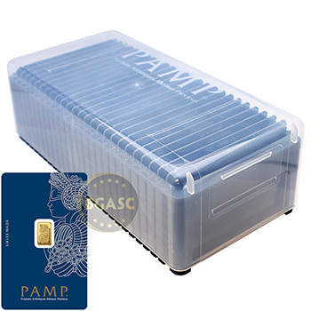 1 gram Gold Bar Pamp Suisse Fortuna with VERISCAN .9999 Fine 24kt in Assay (25-Pack in PAMP Box)