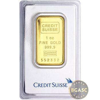 1 oz Gold Bar Credit Suisse .9999 Fine 24kt (in Assay)