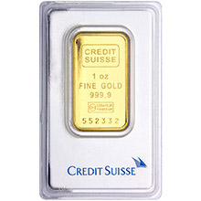 1 oz Gold Bar Credit Suisse .9999 Fine 24kt (in Assay)
