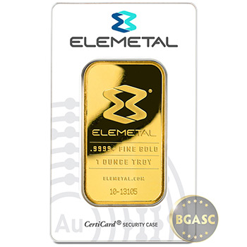 1 oz Gold Bar Elemetal .9999+ Fine 24kt (in Assay, Secondary Market)