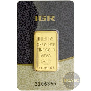 1 oz Gold Bar IGR .9999 Fine 24kt (in Assay)