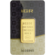 1 oz Gold Bar IGR .9999 Fine 24kt (in Assay)