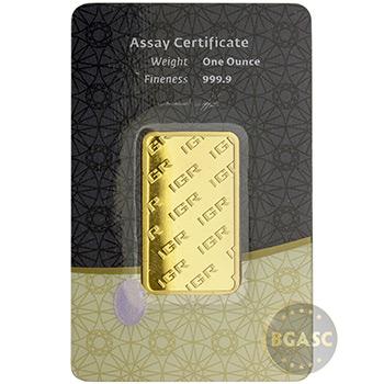 1 oz Gold Bar IGR .9999 Fine 24kt in Assay - Image