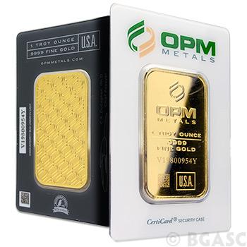 1 oz Gold Bar OPM Metals .9999 Fine 24kt (in Assay)