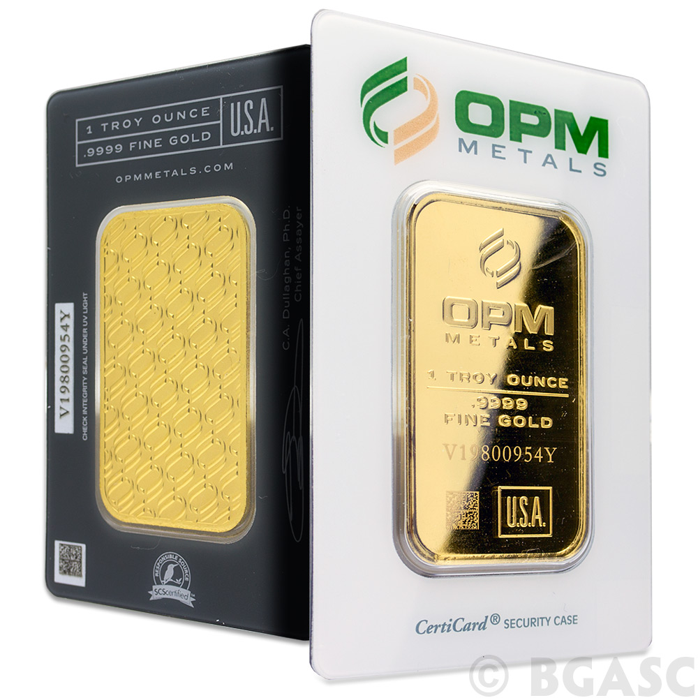 Buy 1 Oz Gold Bar Opm Metals 9999 Fine 24kt In Assay