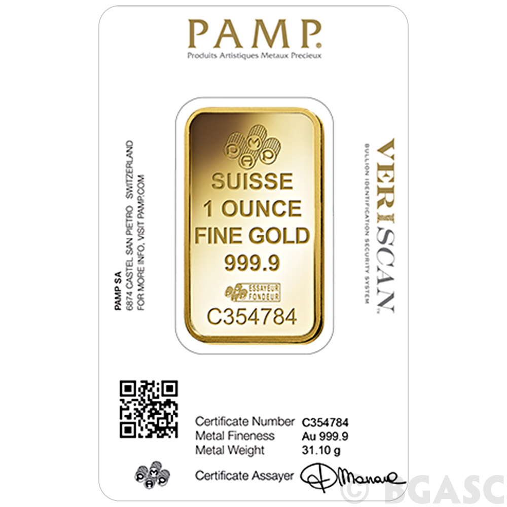 Buy 1 Oz Gold Bar Pamp Suisse Fortuna With Veriscan 9999