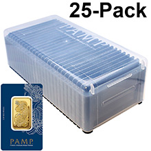 1 oz Gold Bar Pamp Suisse Fortuna with VERISCAN .9999 Fine 24kt in Assay (25-Pack in PAMP Box)