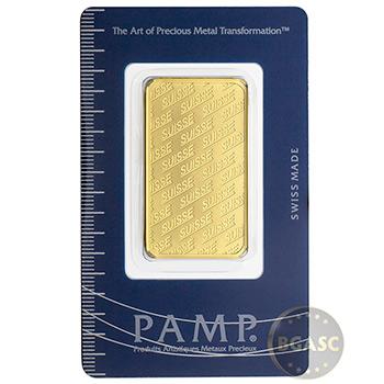 1 oz Gold Bar Pamp Suisse Logo .9999 Fine 24kt (in Assay)