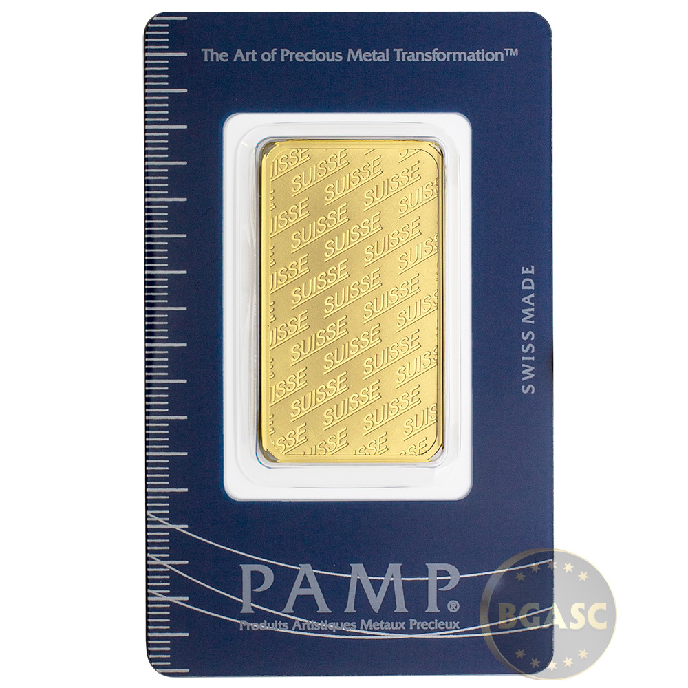 1 Oz Gold Bar Pamp Suisse Logo 9999 Fine 24kt In Ay