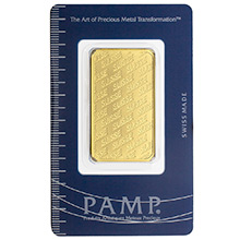1 oz Gold Bar Pamp Suisse Logo .9999 Fine 24kt (in Assay)
