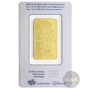 1 oz Pamp Suisse Logo Gold Bullion Sealed Bar - Image