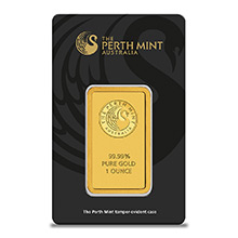 1 oz Gold Bar Perth Mint .9999 Fine 24kt Minted Ingot (in Assay)