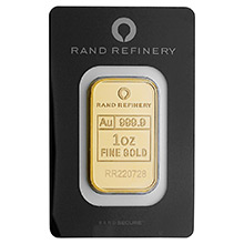 1 oz Gold Bar Rand Refinery Elephant .9999 Fine 24kt Minted Ingot (in Assay)
