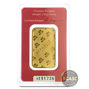 1 oz Gold Bar Republic Metals RMC .9999 Fine 24kt Ingot - Image