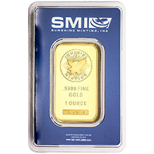 1 oz Gold Bar Sunshine Minting .9999 Fine 24kt (in Assay)