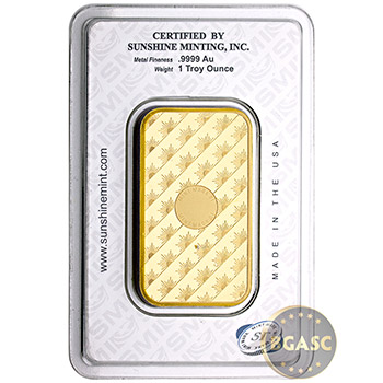 Sunshine Mint 1 oz Gold Bullion Bar w/ Assay Made in USA .9999 Fine 24kt Gold