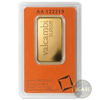 1 oz Gold Bar Valcambi Suisse .9999 Fine 24kt in Assay - Image