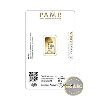 Pamp Suisse 2.5 gram Fortuna Gold Bullion Sealed Bar w/ Assay with VERISCAN .9999 Fine 24kt Gold - Image