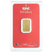 2.5 gram Gold Bar Republic Metals (RMC) .9999 Fine 24kt (in Assay)