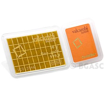 50 gram Gold Bar Valcambi CombiBar™ .9999 Fine 24kt (in Assay)