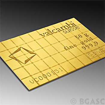 Valcombi 50 gram Gold Bullion Combi Bar w/ Assay .9999 Fine 24kt Gold