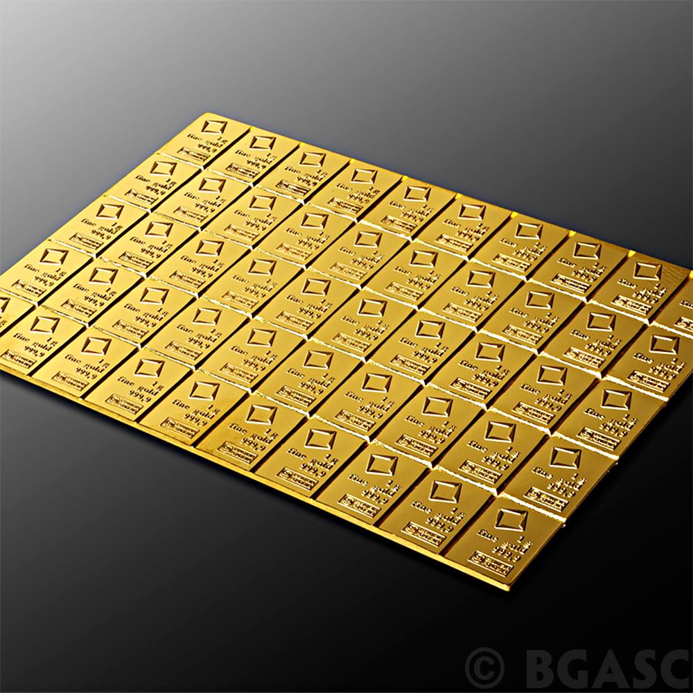 Buy 50 Gram Gold Bar Valcambi Combibar 9999 Fine 24kt