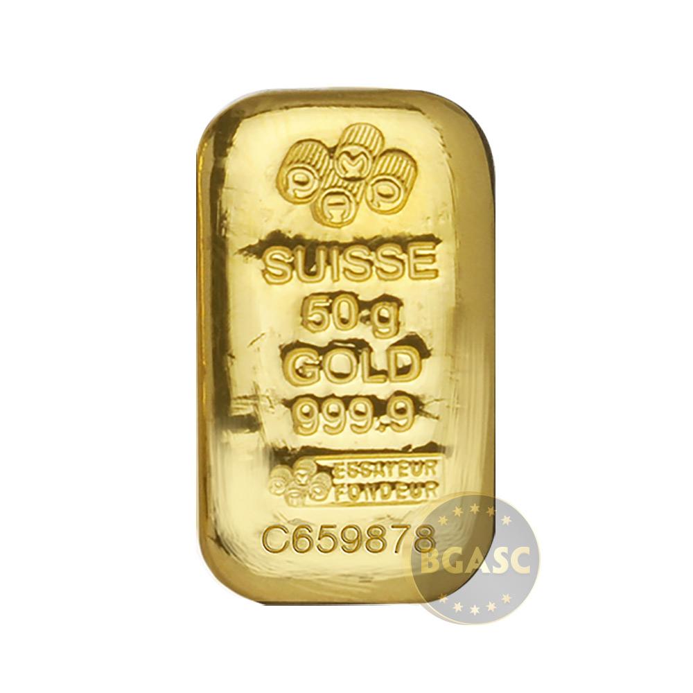 50 Gram Gold Bar Pamp Suisse Cast