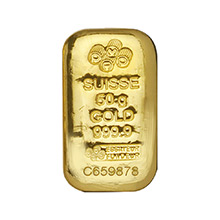 50 gram Gold Bar Pamp Suisse Cast .9999 Fine 24kt (w/ Assay Certificate)