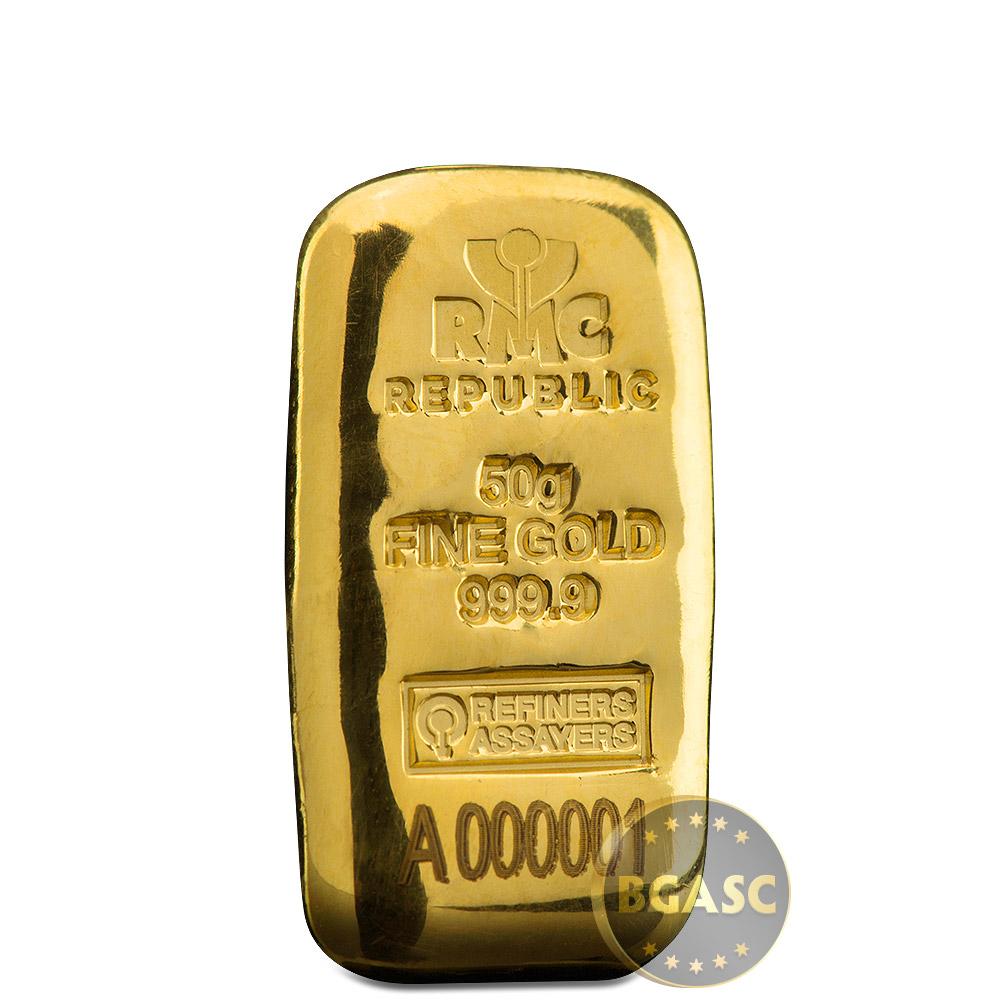 50 Gram Gold Bar Republic Metals Rmc Cast 9999 Fine 24kt W Ay Certificate