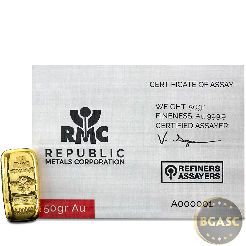 RMC w//Assay Gold Bar .9999 Fine Serial # A000001 100 gram Republic Metals