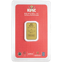 5 gram Gold Bar Republic Metals (RMC) .9999 Fine 24kt (in Assay)