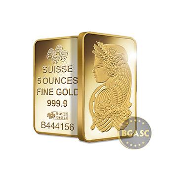 5 oz Pamp Suisse Fortuna Gold Bullion Sealed Bar Swiss with Assay .9999 Fine 24kt Gold - Image