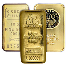 10 oz Gold Bars - Secondary Market 24kt Ingot (Random Assorted)