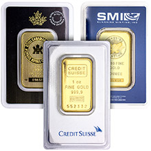 1 oz Gold Bars - Secondary Market 24kt Ingot (Random Assorted, Sealed in Assay Card)
