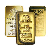 5 oz Gold Bars - Secondary Market 24kt Ingot (Random Assorted)