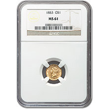 $1 Liberty Head Type 1 Gold Coin PCGS/NGC Graded MS61 (Random Year)