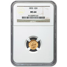 $1 Liberty Head Type 1 Gold Coin PCGS/NGC Graded MS64 (Random Year)