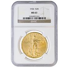 $20 Saint Gaudens Double Eagle Gold Coin PCGS/NGC Graded MS63 (Random Year)