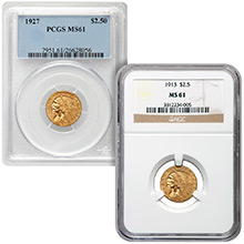 $2.50 Indian Quarter Eagle Gold Coin PCGS/NGC Graded MS61 (Random Year)
