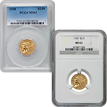 $2.50 Indian Quarter Eagle Gold Coin PCGS/NGC Graded MS63 (Random Year)
