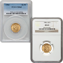 $2.50 Liberty Quarter Eagle Gold Coin PCGS/NGC Graded MS63 (Random Year)