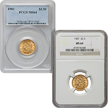 $2.50 Liberty Quarter Eagle Gold Coin PCGS/NGC Graded MS64 (Random Year)