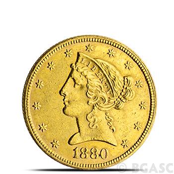 $5 Liberty Half Eagle Gold Coin Jewelry Grade (Random Year)