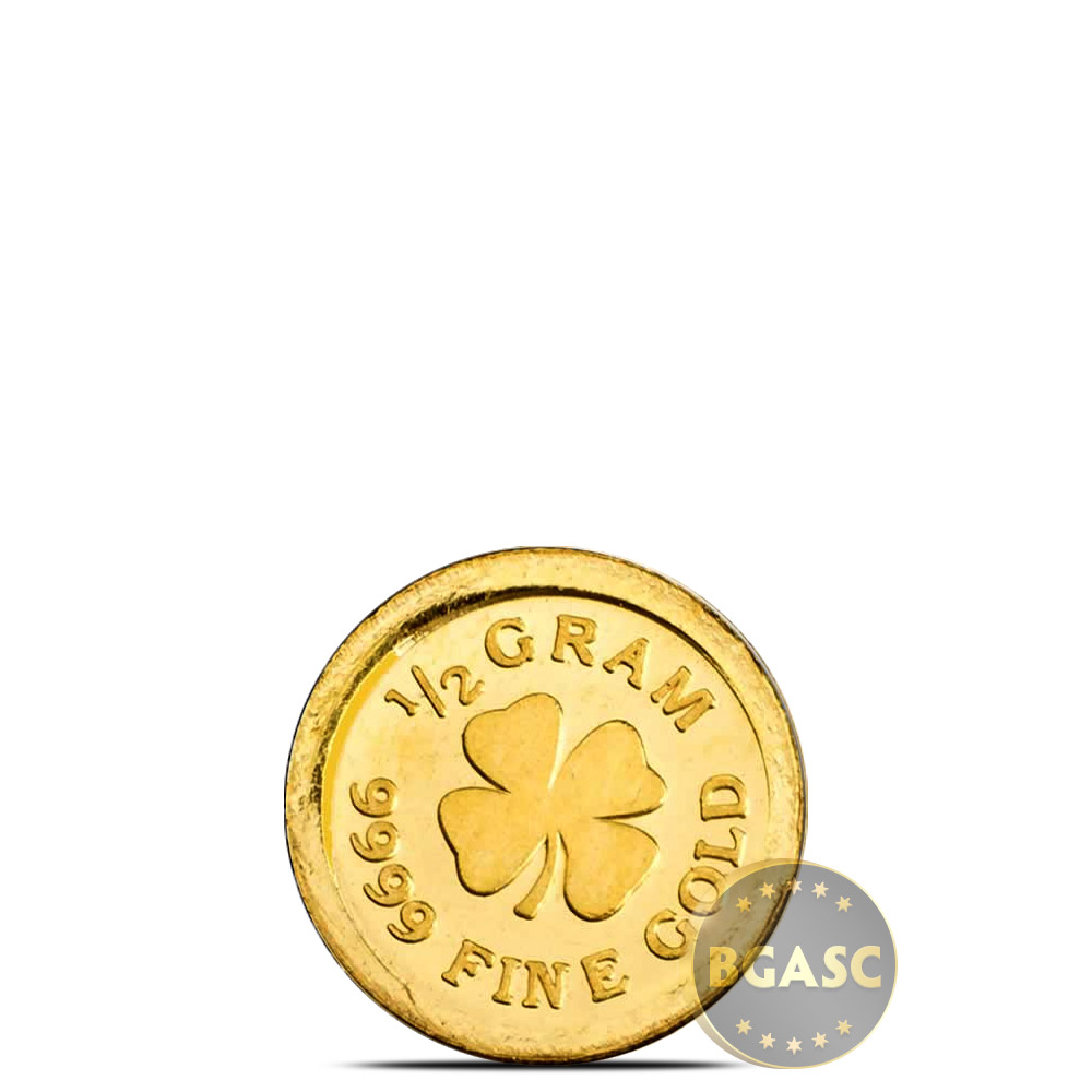 1 2 Gram Gold Rounds Monarch Lucky Clover 0 016 Troy Oz 9999 Fine 24kt In Capsule