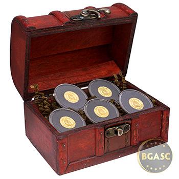 Treasure Chest of 5 x 1 gram Gold Tall Ship Rounds .9999 Fine Bullion (5 Rounds)