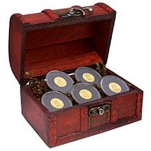 Treasure Chest of 5 x 1 gram Gold Tall Ship Rounds .9999 Fine Bullion (5 Rounds)