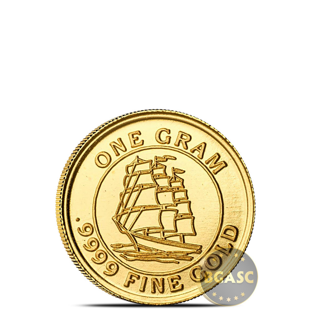 Buy Treasure Chest Of 5 X 1 Gram Gold Tall Ship Rounds