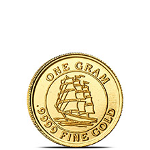 1 gram Gold Rounds Monarch Tall Ship (0.032 troy oz) .9999 Fine (in Capsule)