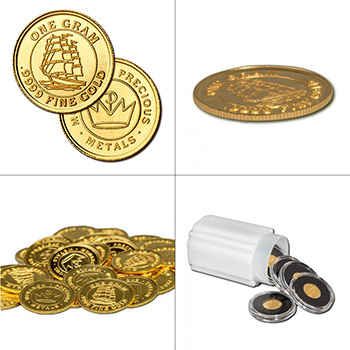 1 gram Gold Rounds Monarch Tall Ship .999 Fine Fractional Gold Bullion - Image