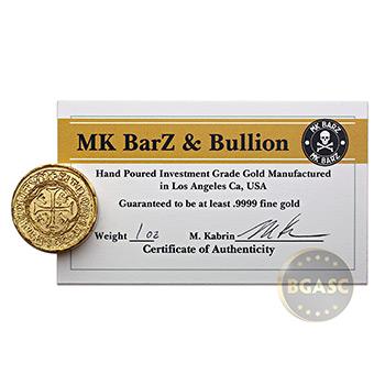 1 oz Gold Round MK BarZ Pirate Spanish Doubloon .9999 Fine 24kt w COA - Image